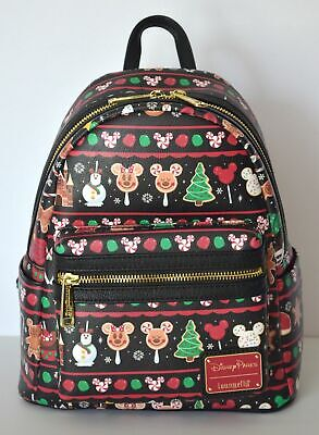 Disney Parks 2019 Christmas Loungefly Backpack Mickey Mouse Snacks Icons NWT