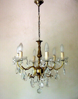 Antique  French Gilt Bronze With Crystal Drops Six Branch Chandelier