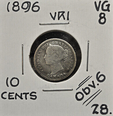 1896 obv.6 Canada 10 Cents VG-8