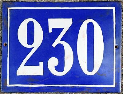 Large old French house number 230 door gate plate plaque enamel steel metal sign