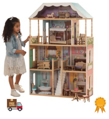 Barbie Size Wooden Dollhouse Furniture Doll Girls Playhouse Play House 14 Pc NEW