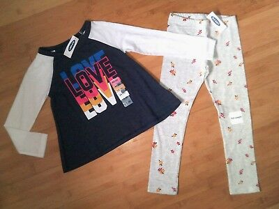 NWT Old Navy Girls Size 5 / 5T Love Outfit - Top & Flower Leggings NEW