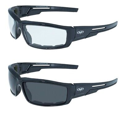 2 Motorcycle Bicycle Glasses Sunglasses Clear Smoked Padded Outdoor Safe Cycling