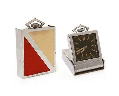 Art Deco Folding Travel Clock Red & Cream Enamel PART & REPAIR