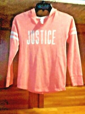 "Justice Girls' Lightweight Hoodie, Size 7 - ""JUSTICE"" Graphic on Front"