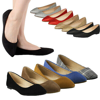 Women's Suede Glitter Mesh Classic Pointed Toe Ballet Flats Slip On Flat Shoes