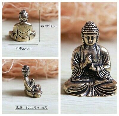 Chinese Buddhism lucky Pure Copper Brass Bronze Sakyamuni Buddha Small Statue