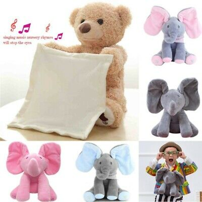 Peek-a-Boo Animated Talking and Singing Plush Elephant Stuffed Doll Toy,For-Baby