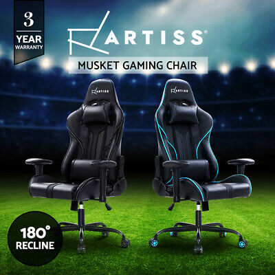 Artiss Gaming Office Chair Computer Chairs Leather Seat Racing Racer BK BU Red