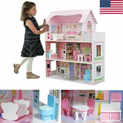 Large Children Wooden Dollhouse Kid House Play Pink with Barbie Doll Furniture E