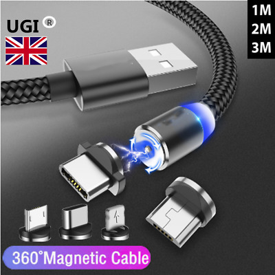 UK Magnetic Adapter 1M Charger Fast Charging Cable For Micro USB iPhone Type-C