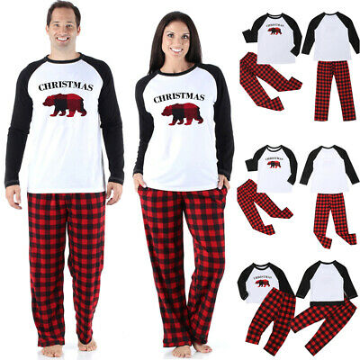 Family Christmas Pajamas Set Xmas Matching Pyjamas Adult Kids Sleepwear Red Bear