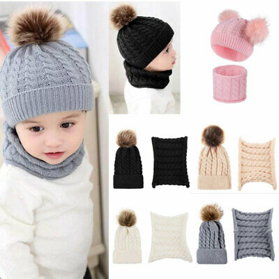Newborn Baby Toddler Winter Warm Knitted Crochet Beanie Hat Cap Scarf Sets Boy