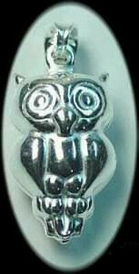 LOOK 3D Owl Sterling Silver 925 bird Charm Pendant Jewelry