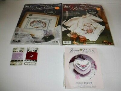 Lot of 2 Bucilla Silk Ribbon Embroidery Kits Peace On Earth Friends Are Flowers