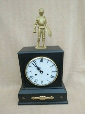 Lovely Contemporary Ebonised Wood Knight Clock With Vintage Movement
