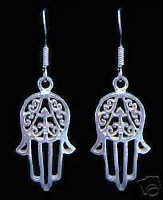 LOOK New Hand of Fatima Real Sterling Silver 925 Earrings Islam Allah Islamic Je
