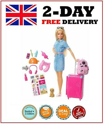 Barbie FWV25 Doll and Travel Set with Puppy Luggage and 10+ Accessories