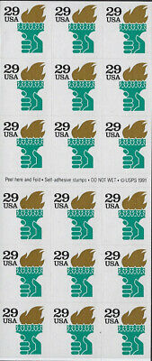UNITED STATES OF AMERICA: 1991 (29c) Teller machine pane of 18 #2531b MNH