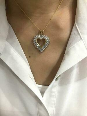 """1 CT Round Cluster Diamond Heart Love Pendant 18"""" Necklace 14k Yellow Gold Over"""