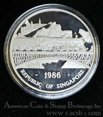 Singapore 1 Ounce 1986 sm Proof CAM silver X#23 1 Oz 999 Double Dragon Railroad
