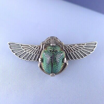 Egyptian Revival Scarab Brooch / Silver plated Art Deco Pin