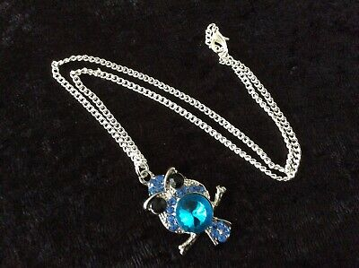 Owl Pendant Necklace, Blue Coloured Stones, Silver Plate Chain - Nice Gift New