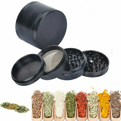 Black 4 Piece Magnetic 2.5 Inch Tobacco Herb Grinder Spice Aluminum With Scoop