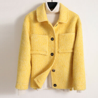 Women High-end Cashmere Wool Peacoat Short Double-sided Mohair Jacket Warm Coats