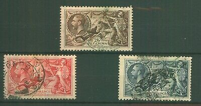 GB KGV 1934 Re-engraved Seahorses x 3 To 10/- SG450/452 Fine Used