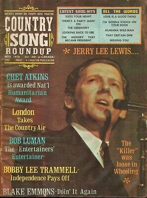 1972 November Country Song Roundup - Jerry Lee Lewis - Vintage Magazine