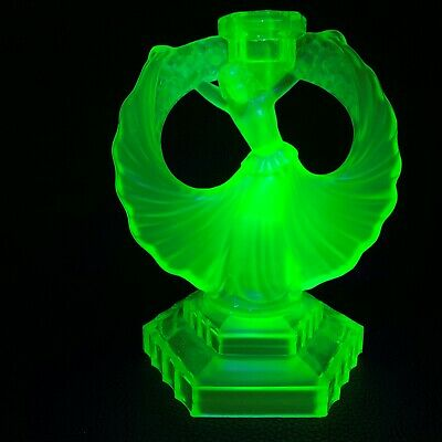 "Walther & Sohne Art Deco Green Uranium Glass ""Dancing Lady"" Candle Holder 1930's"