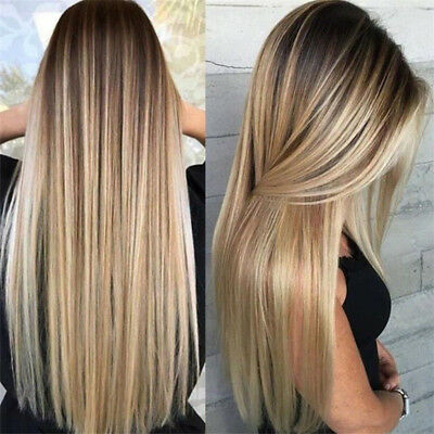 Synthetic Long Straight Hair Ombre Blonde Wig Heat Resistant