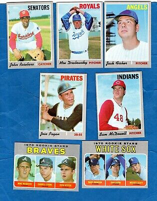 1970 (7) TOPPS  HIGH HI ALL DIFFERENT (2) ROOKIES Baseball Card Lot ExMt NICE!!