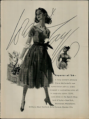 1956 Lord Taylor Claire McCardell's Button Down Dress Vintage Print Ad 3092