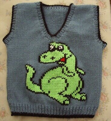 Dinosaur Baby Boys Vest New Hand Knitted Size 2
