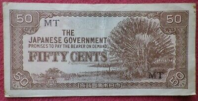 The Japanese Government WW2 Invasion Occupation Fifty Cent (50c) Banknote Burma!