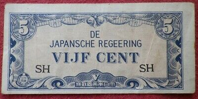 The Japanese Government WW2 Invasion Occupation Vijf (5c) Cent East Indies!
