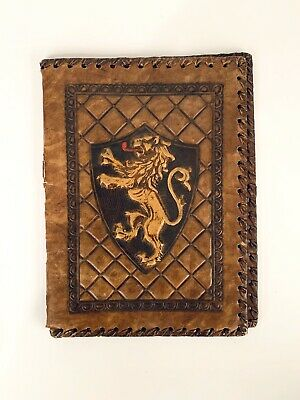 Stunning Heraldry Hand Worked Tooled Leather Silk Deluxe Vuillard Book Cover