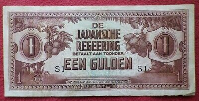 The Japanese Government WW2 Invasion Occupation Een (One) Gulden East Indies!