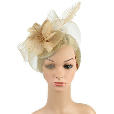 Fascinator Feather Hat Headwear Wedding Hair Clip Headband Lady's Day Ascot Race