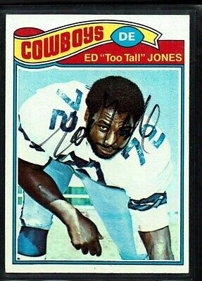 1977 Topps Football Cowboys Ed Too Tall Jones Signature Auto Signed Card 314 Vg+