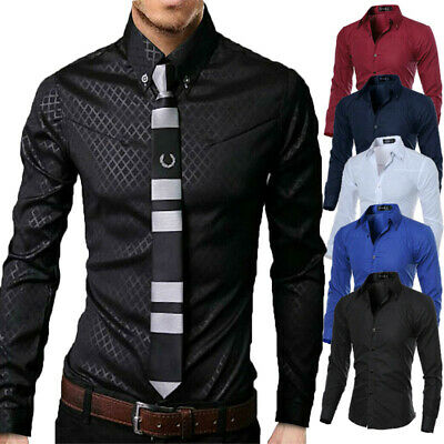 UK Men Luxury Casual Formal Shirt Long Sleeve Slim Fit Business Dress Shirts Top