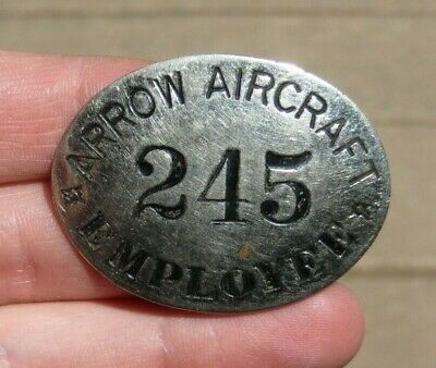 Arrow Aircraft Company Factory Manufacturer ID Identification Employee Badge Pin