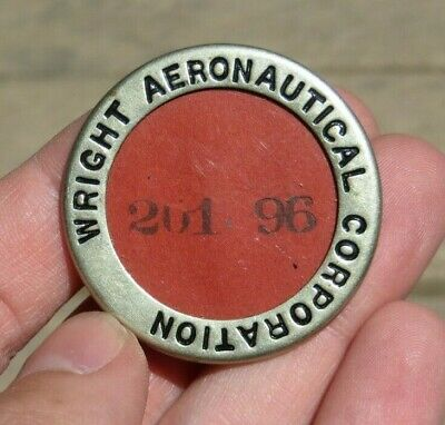 WRIGHT AERONAUTICAL Co. Factory Manufacturer ID Identification Employee Badge