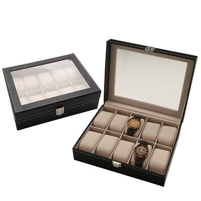 Transparent Top 10 Slot Watch Display Storage Box Collection Case Organiser Hold