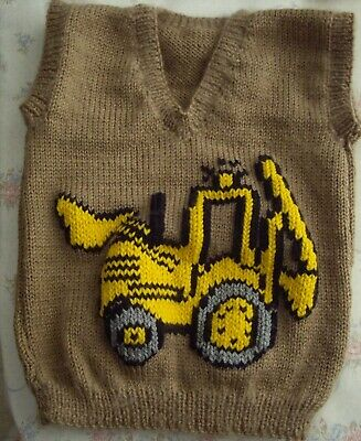 Digger  Baby Boys Vest New Hand Knitted Size 2