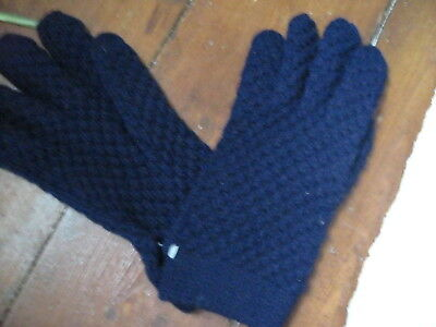 Brand New With Tags Vintage Dark Blue Warm Winter Gloves Size Small Unisex
