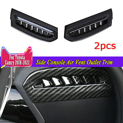 2x Inner Side Console Air Vent Outlet Trim Carbon Fiber o For TOYOTA CAMRY 18-19