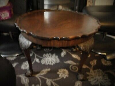 Antique Heavy Solid Wooden Pie Crust Table Large Paw & Ball Feet Superb Grain